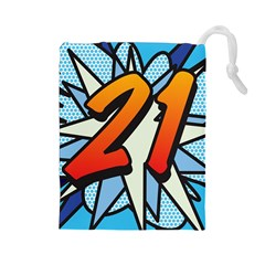 Comic Book 21 Blue Drawstring Pouches (Large)