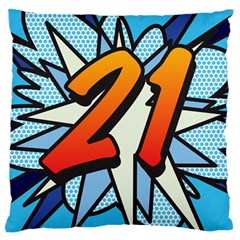 Comic Book 21 Blue Large Flano Cushion Cases (One Side)