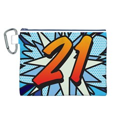 Comic Book 21 Blue Canvas Cosmetic Bag (L)