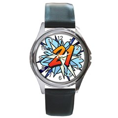 Comic Book 21 Blue Round Metal Watches