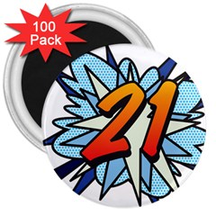Comic Book 21 Blue 3  Magnets (100 pack)