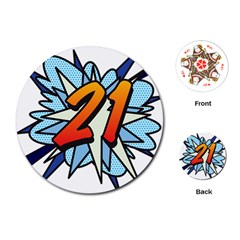 Comic Book 21 Blue Playing Cards (round)
