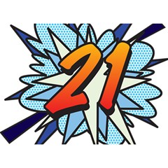 Comic Book 21 Blue Birthday Cake 3D Greeting Card (7x5)