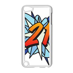 Comic Book 21 Blue Apple iPod Touch 5 Case (White)