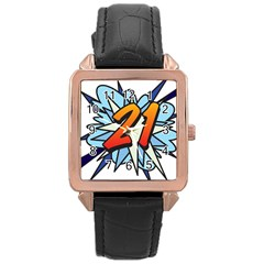 Comic Book 21 Blue Rose Gold Watches
