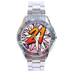 Comic Book 21 Pink Stainless Steel Men s Watch