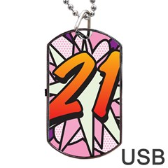 Comic Book 21 Pink Dog Tag USB Flash (Two Sides)