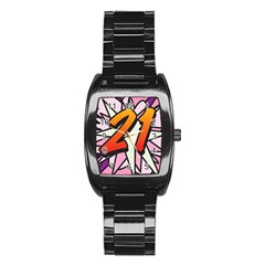 Comic Book 21 Pink Stainless Steel Barrel Watch