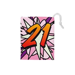 Comic Book 21 Pink Drawstring Pouches (Small)