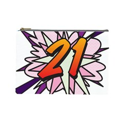 Comic Book 21 Pink  Cosmetic Bag (Large)