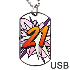 Comic Book 21 Pink  Dog Tag USB Flash (One Side)