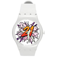 Comic Book 21 Pink  Round Plastic Sport Watch (M)