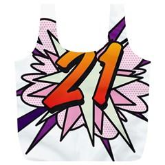 Comic Book 21 Pink  Full Print Recycle Bags (L)