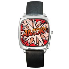 Comic Book Amor!  Square Metal Watches