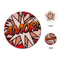 Comic Book Amor!  Playing Cards (round)
