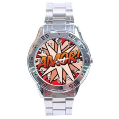 Comic Book Amor!  Stainless Steel Men s Watch