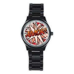 Comic Book Amor!  Stainless Steel Round Watches