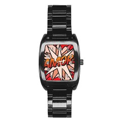 Comic Book Amor!  Stainless Steel Barrel Watch