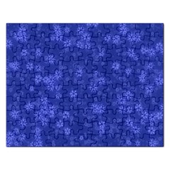 Snow Stars Blue Rectangular Jigsaw Puzzl