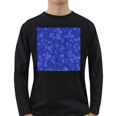Snow Stars Blue Long Sleeve Dark T-Shirts