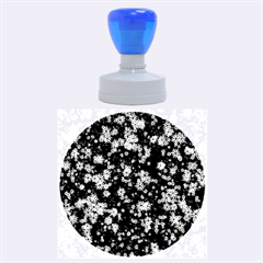 Snow Stars Blue Rubber Round Stamps (Large)