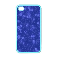 Snow Stars Blue Apple iPhone 4 Case (Color)