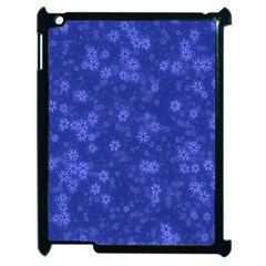 Snow Stars Blue Apple iPad 2 Case (Black)