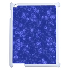 Snow Stars Blue Apple iPad 2 Case (White)