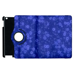 Snow Stars Blue Apple iPad 3/4 Flip 360 Case