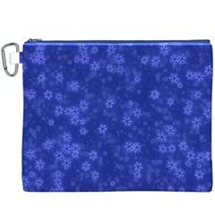 Snow Stars Blue Canvas Cosmetic Bag (XXXL)