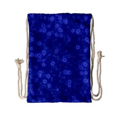 Snow Stars Blue Drawstring Bag (small)