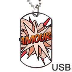 Comic Book Amour! Dog Tag USB Flash (One Side)