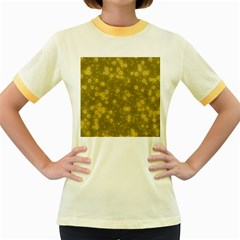 Snow Stars Golden Women s Fitted Ringer T Shirts