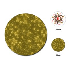 Snow Stars Golden Playing Cards (round)