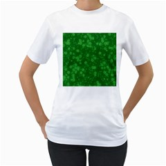 Snow Stars Green Women s T-Shirt (White) (Two Sided)