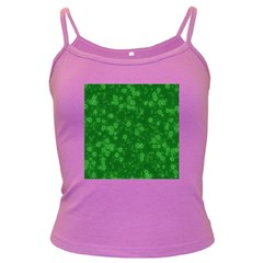 Snow Stars Green Dark Spaghetti Tanks