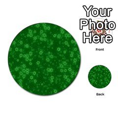 Snow Stars Green Multi Purpose Cards (round)