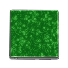 Snow Stars Green Memory Card Reader (Square)
