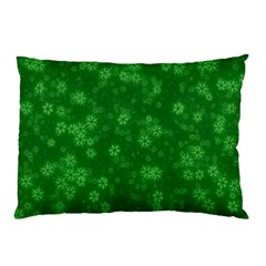 Snow Stars Green Pillow Cases (Two Sides)