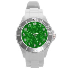 Snow Stars Green Round Plastic Sport Watch (L)