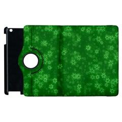 Snow Stars Green Apple iPad 2 Flip 360 Case