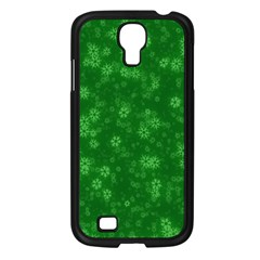 Snow Stars Green Samsung Galaxy S4 I9500/ I9505 Case (Black)