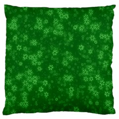 Snow Stars Green Large Flano Cushion Cases (one Side)