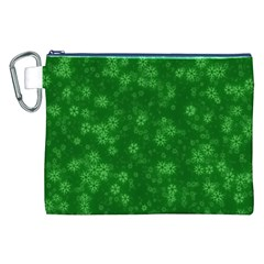 Snow Stars Green Canvas Cosmetic Bag (XXL)