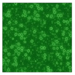 Snow Stars Green Large Satin Scarf (Square)