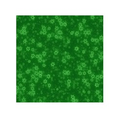 Snow Stars Green Small Satin Scarf (square)