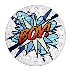 Comic Book Boy! Round Filigree Ornament (2Side)