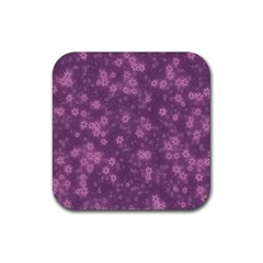 Snow Stars Lilac Rubber Square Coaster (4 pack)