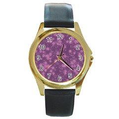 Snow Stars Lilac Round Gold Metal Watches