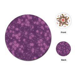 Snow Stars Lilac Playing Cards (round)